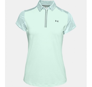 TimeForGolf - Under Armour W polo Zinger Zip SS Seaglass Blue/Enamel Blue/Black