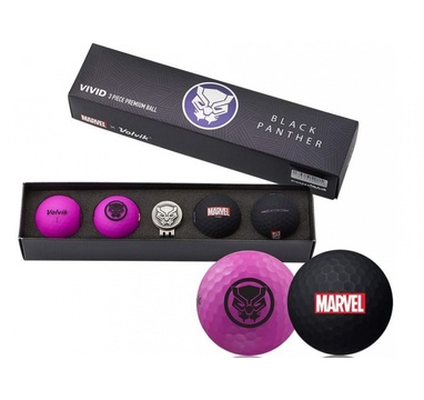 TimeForGolf - VOLVIK ball (míčky) Vivid Marvel Black Panther Long 4 balls + ball marker (markovátko)