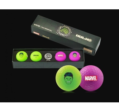 TimeForGolf - VOLVIK ball Vivid Marvel Hulk Long 4 balls + ball marker