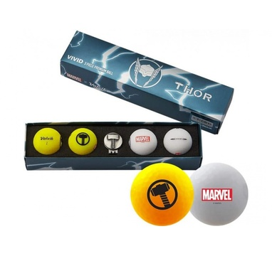 TimeForGolf - VOLVIK ball (míčky) Vivid Marvel Thor Long 4 balls + ball marker