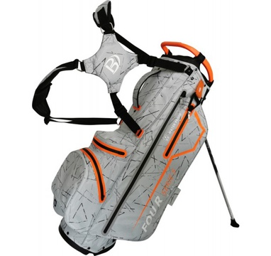 TimeForGolf - Bennington Stand bag FOUR 4 Waterproof Silver Flash / Orange