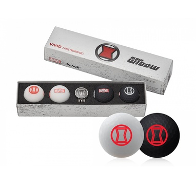 TimeForGolf - VOLVIK ball Vivid Marvel Black Widow Long 4 balls + ball marker