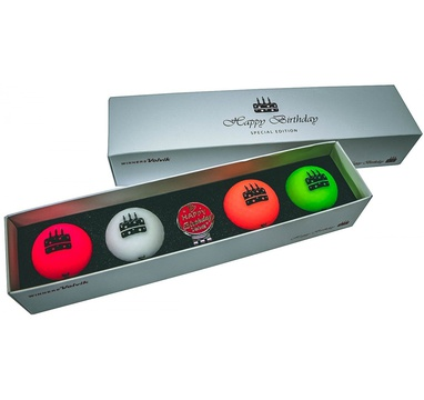TimeForGolf - VOLVIK ball Vivid Happy Birthday Pack 4 balls + ball marker