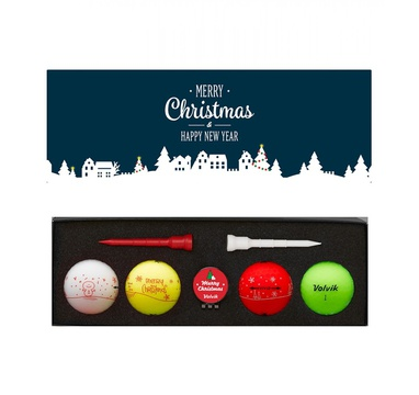 TimeForGolf - VOLVIK ball Vivid X-Mas Pack 4 balls + ball marker and tees